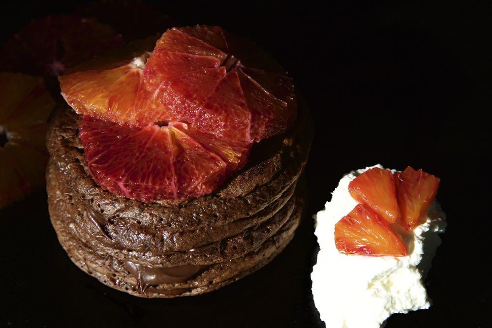 Double Chocolate Orange Pancakes with Blood Oranges and Orange Blossom Cream.