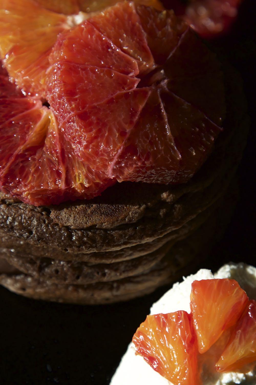 Chocolate Orange Pancakes with Blood Oranges and Orange Blossom Cream.