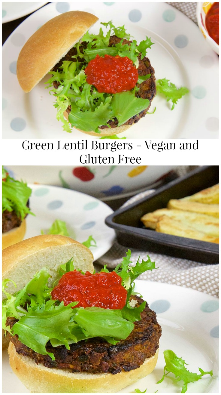 Green Lentil Burgers with Sweet Potato - Vegan, Gluten Free and Deeply Savoury. Delicious in a bun with chips, salad and sweet pepper sauce!