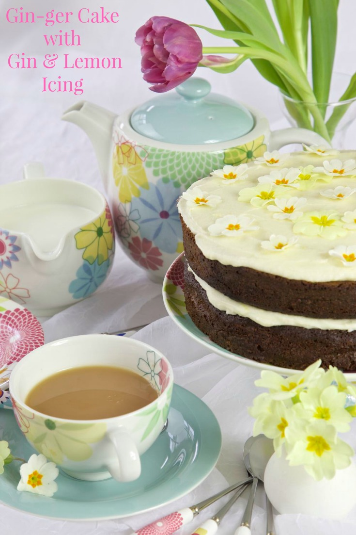 A Gin Ginger Cake with Gin and Lemon Butter Icing for Mother's Day!