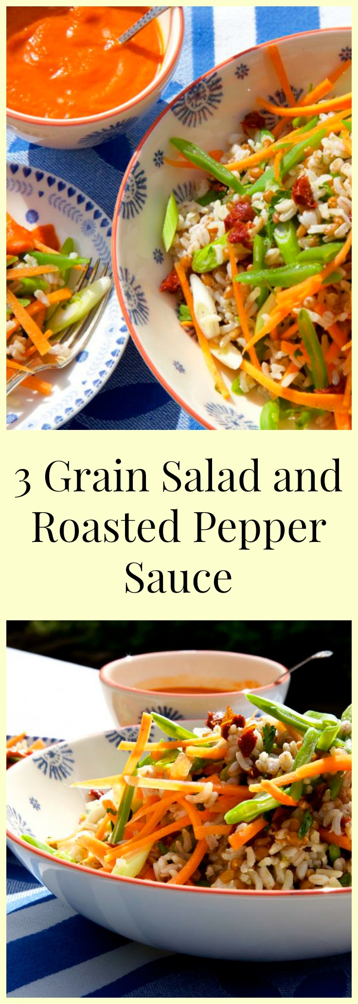 A delciously summery three grain salad with crunchy vegetables, garlic oil dressing and a roasted red pepper sauce.
