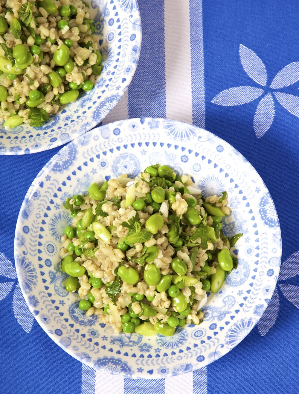 Barley Risotto with Broad Beans and Peas. Simple, tasty and satisfying vegan food making the most of spring vegetables in season.