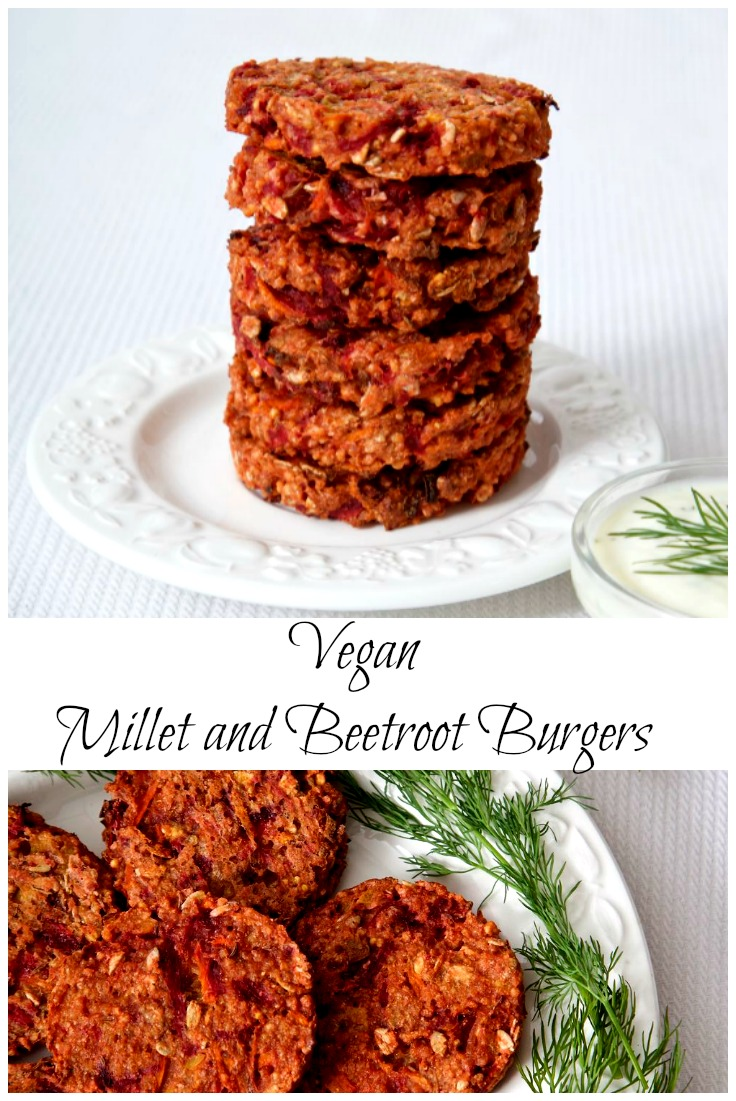 Millet Burgers with Beetroot and Caraway served with Dill Yoghurt.