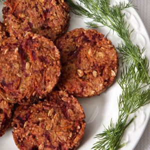 Millet Burgers with Beetroot and Caraway - a delicious vegan burger with fabulous texture!