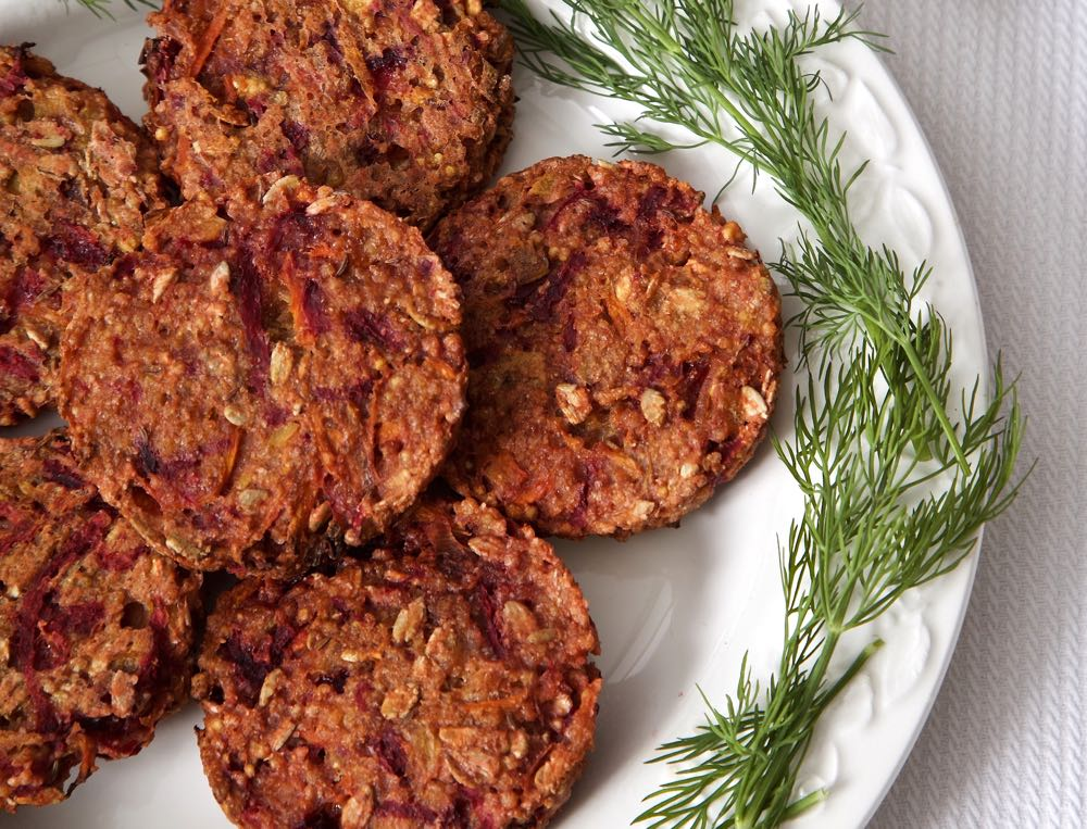 Millet Burgers with Beetroot and Caraway.