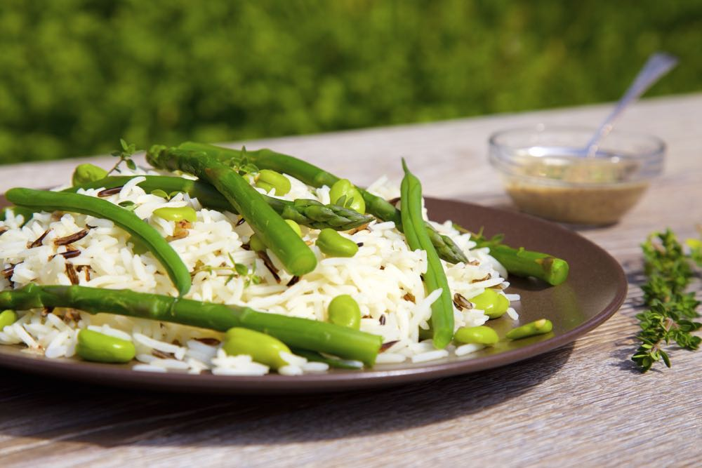 Wild Rice and Asparagus Salad with Sumac and Lemon Thyme.