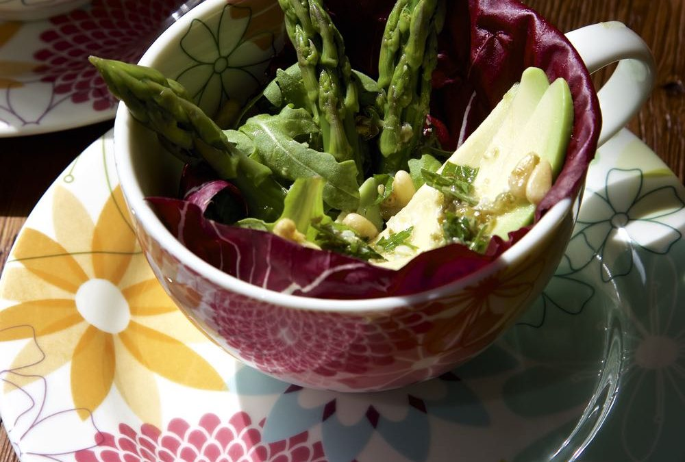 Avocado and Asparagus Salad with A Lemony Caper Dressing