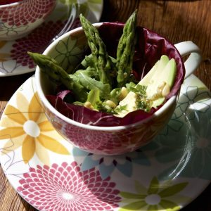 Avocado and Asparagus Salad with Capers, Lemon and Pine Nut Dressing in pretty Portmeirion Tea Cups!
