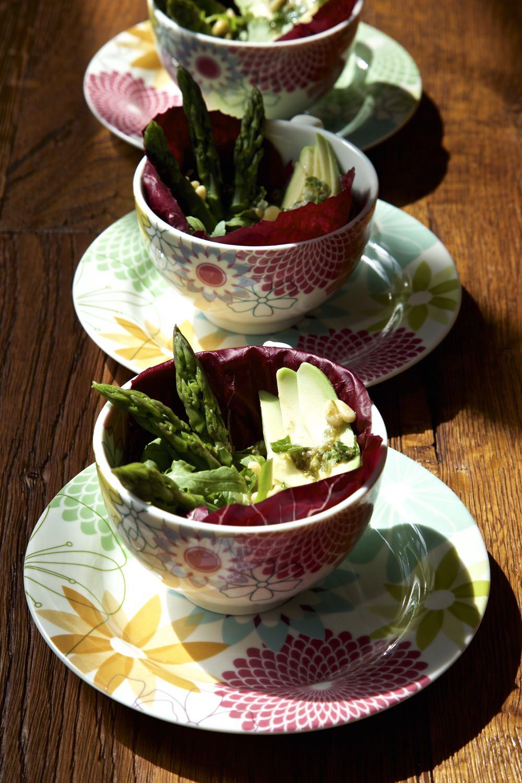 Avocado and Asparagus Salad with Raddichio.