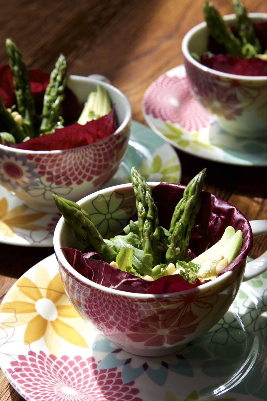 Avocado and Asparagus Salad with lemon and caper dressing.