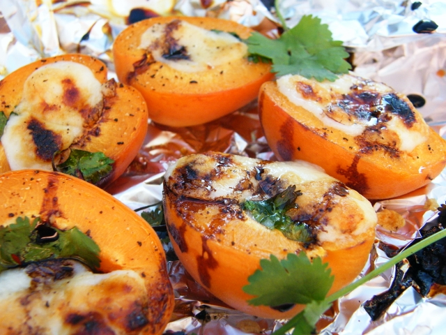 BBQ Apricots with Cheese.