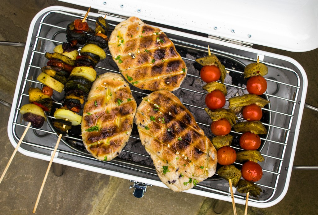BBQ Flatbreads and Artichoke Kebabs