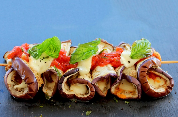 Eggplant Parmigiana Kebabs.
