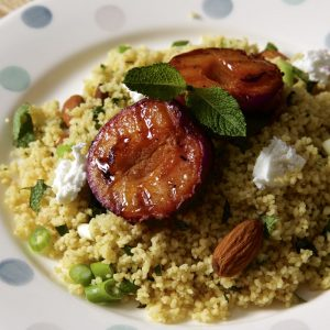 Grilled Plum Salad with Goat's Cheese, Couscous and Mint