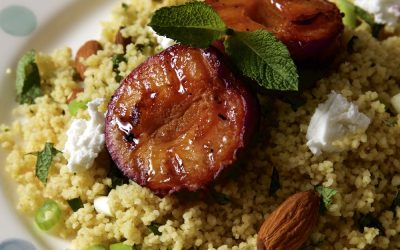Grilled Plums with Mint Couscous and Almonds