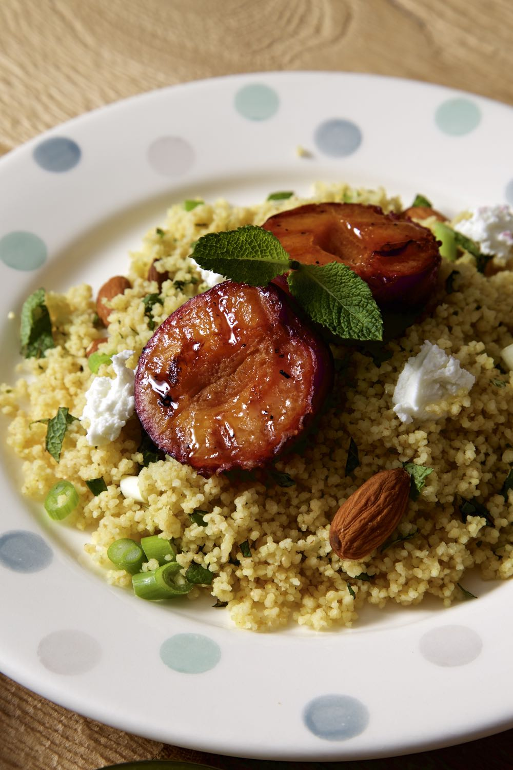 Grilled Plums with Goat's Cheese, Couscous and Mint