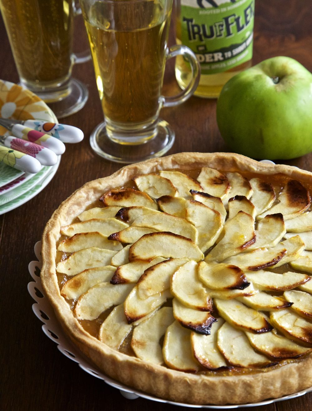 A rustic, vegan apple tart with Somerset cider.