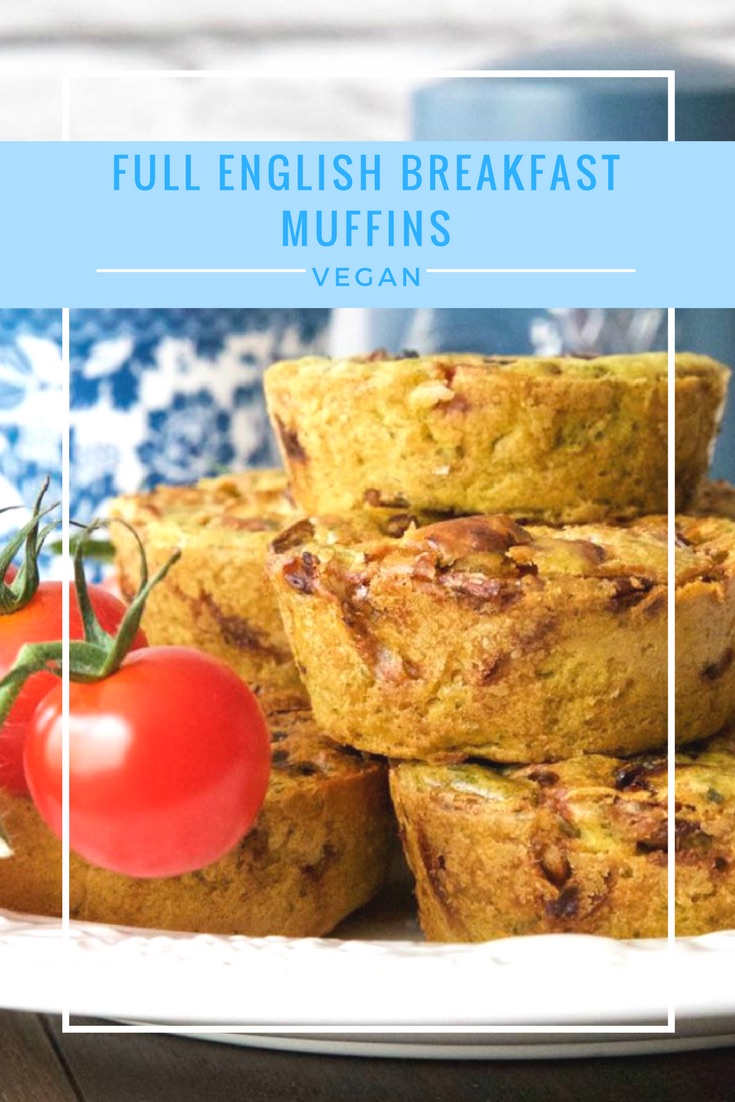 Vegan Full English Breakfast Muffins - a deliciously herby egg free batter encasing vegan sausages, mushrooms and red onions. Simple and delicious vegan breakfast food.
