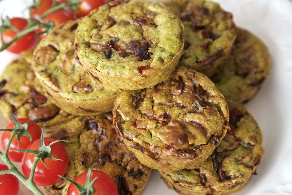 Vegan Breakfast Muffins with tomatoes.