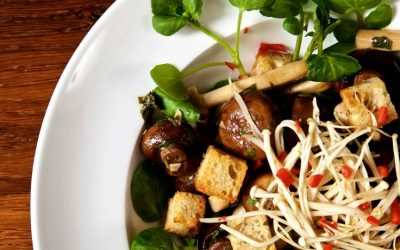 Marinated Mushrooms with Cumin Croutons and Watercress