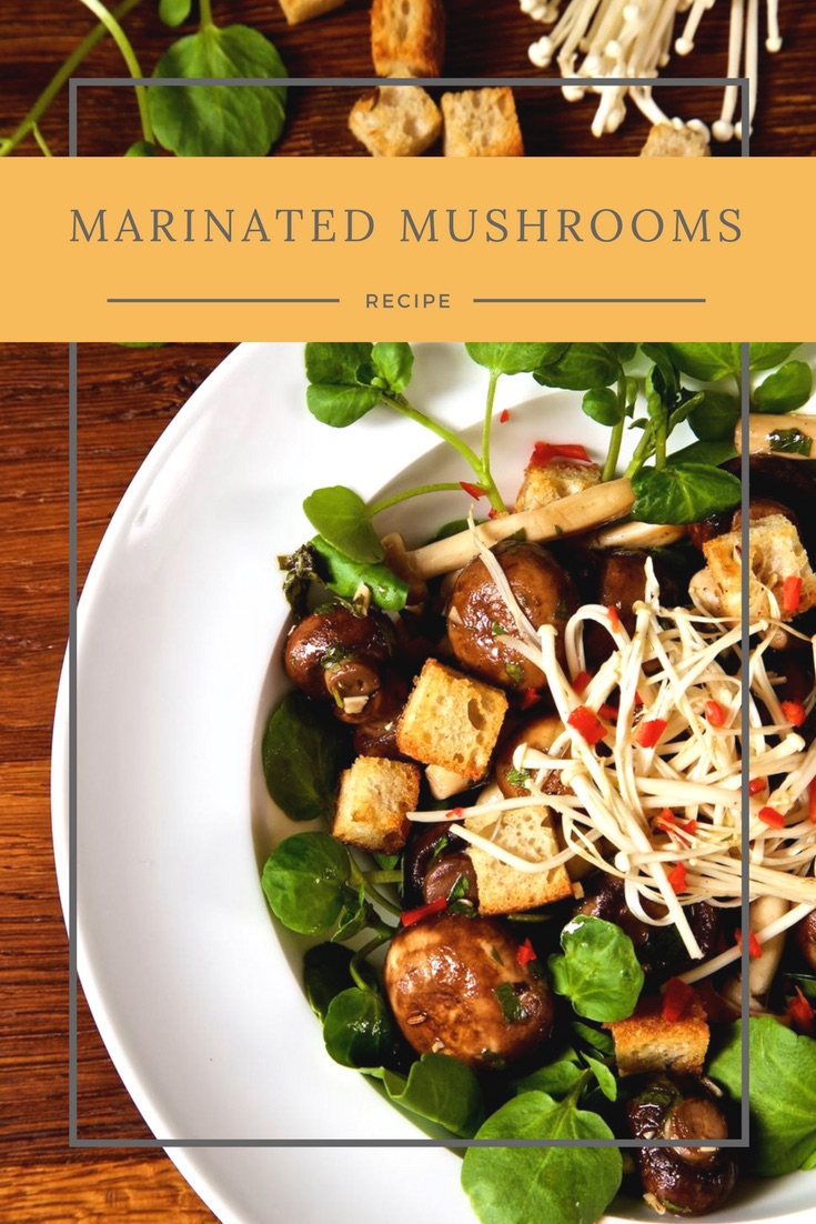 Marinated Mushrooms with cumin croutons and watercress - a lovely marinated mixed mushroom salad served with cumin croutons and watercress.