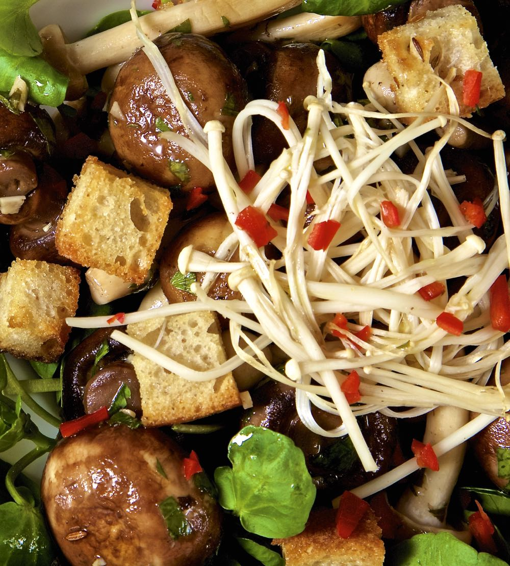 Close up of marinated mushrooms and croutons salad, topped with enoki mushrooms and chopped red chilli.