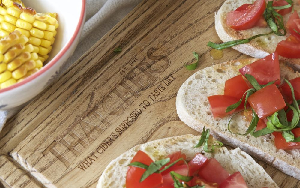 Simple Tomato Bruschetta with Thatchers Katy Cider.