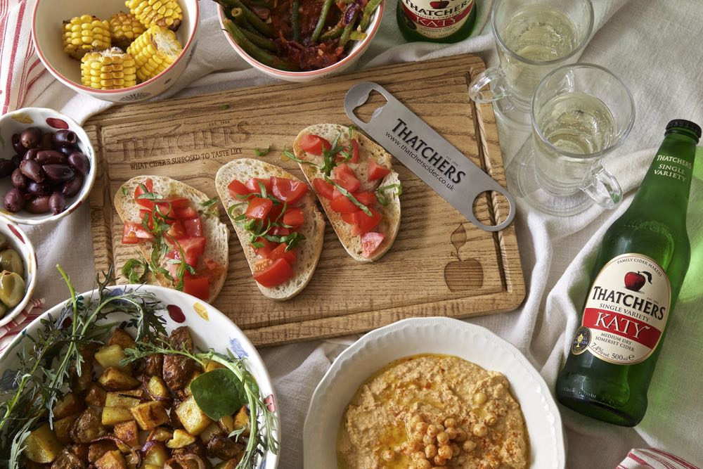 Vegan Tapas with Thatchers Katy Cider - Paprika Roasted Potato Chunks, Cumin Spiced Hummus, Simple Bruschetta, Roasted Corn., Olives, Green Beans with Sun Dried Tomatoes