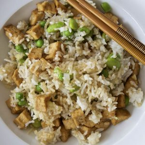 Vegan Egg Fried Rice - a super easy recipe made using ready marinated tofu pieces from Cauldron foods.