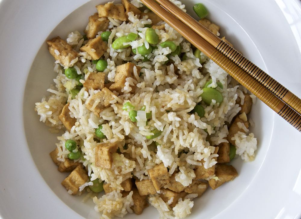 Easy Vegan Fried Rice using ready marinated tofu pieces from Cauldron foods.