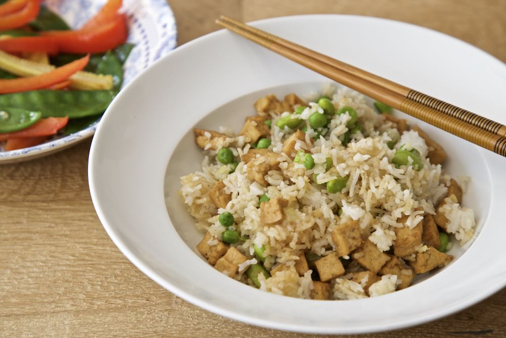 Easy Vegan Tofu Fried Rice with Stir friend vegetables in garlic, ginger and tamari.