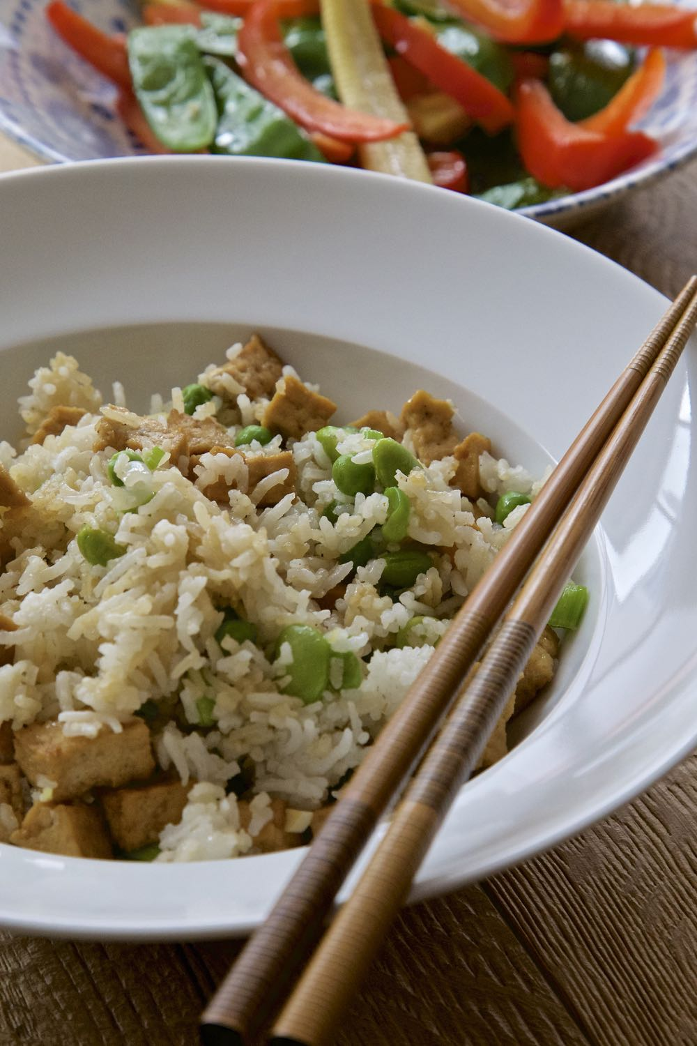 Easy Vegan Fried Rice with Tofu Pieces.