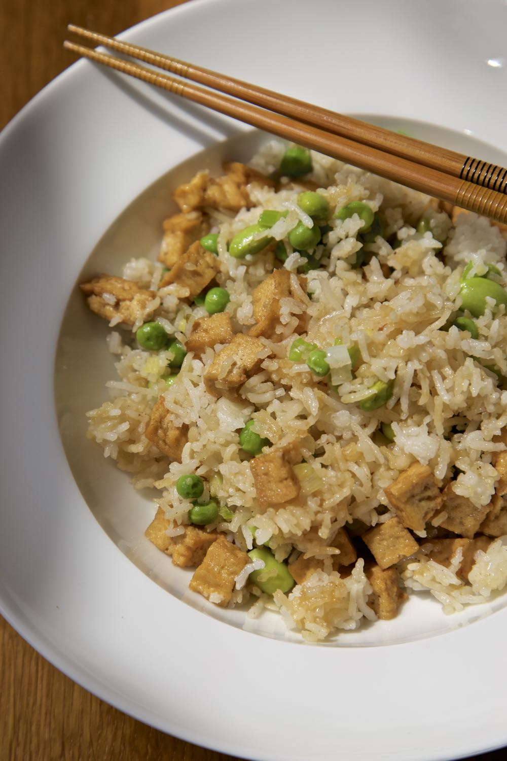 Easy Vegan Egg Fried Rice with Cauldron Tofu Pieces