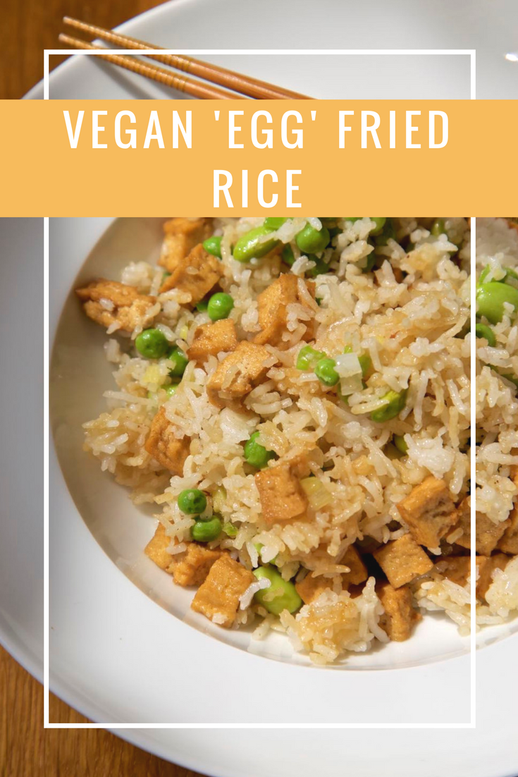 Super easy Vegan Egg Fried Rice with Marinated Tofu Pieces.