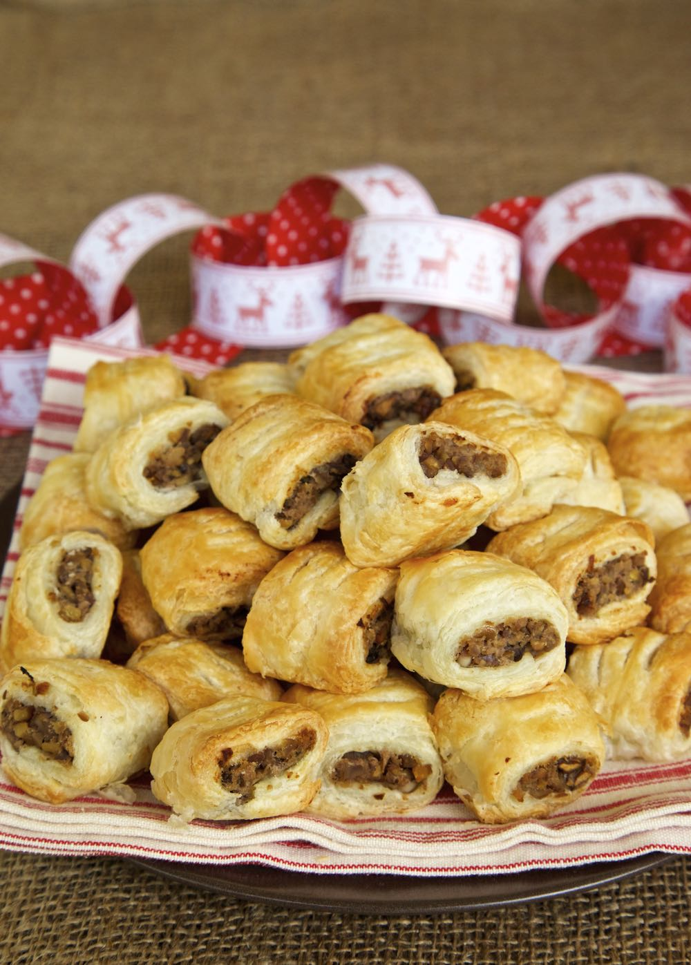Vegan Sausage Rolls - chestnut, mushroom and red wine encased in crispy, flaky, puff pastry!