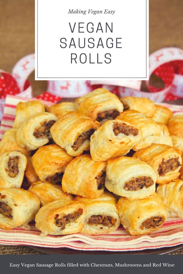 Super easy vegan sausage rolls filled with chestnuts, red wine and mushrooms.