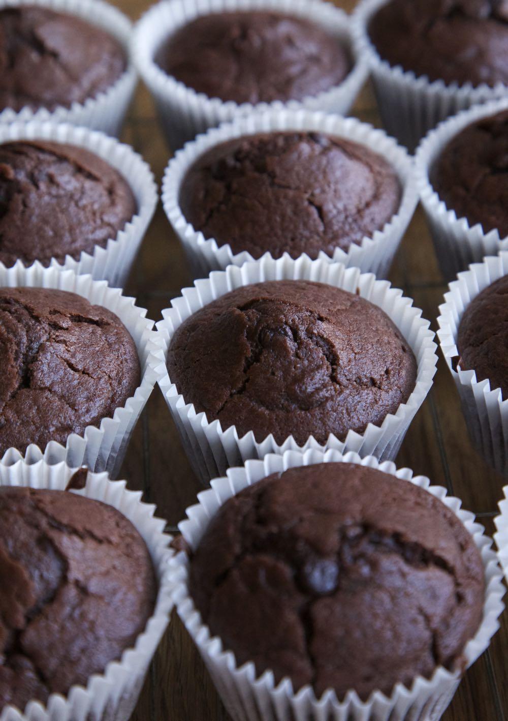 Rows of Chocolate Orange Muffins.