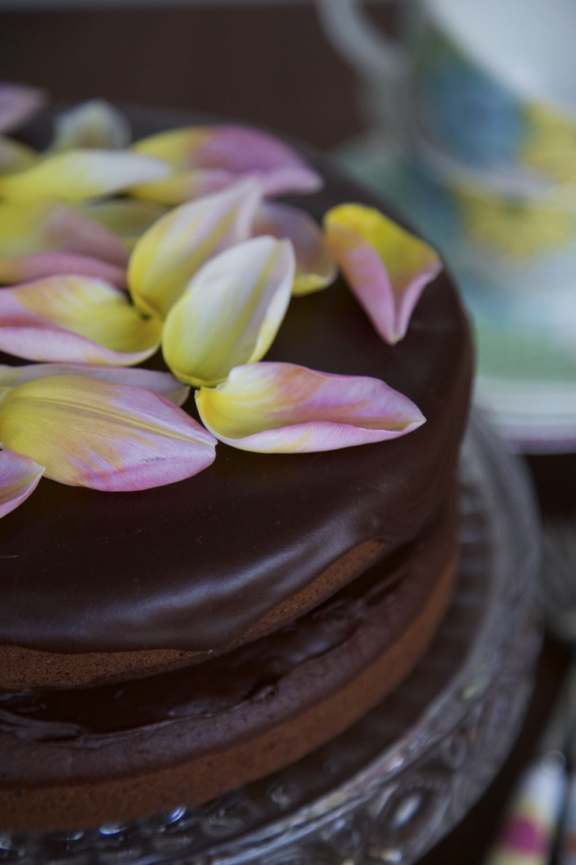 Vegan chocolate fudge cake with chocolate fudge icing.