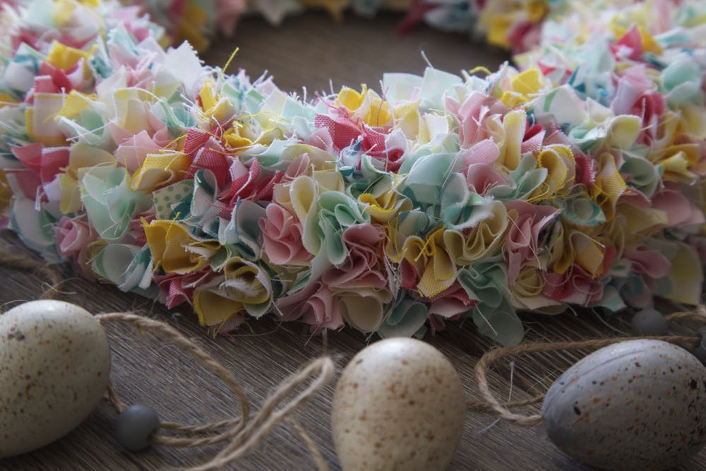 Simple Fabric Wreath in spring colours.