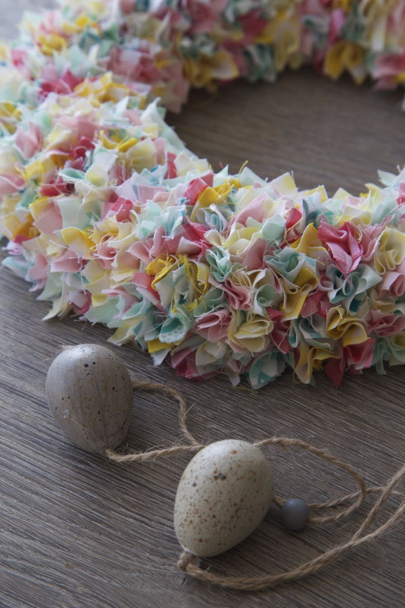 A simple Easter wreath made with fat quarter scraps and a polystyrene wreath base.