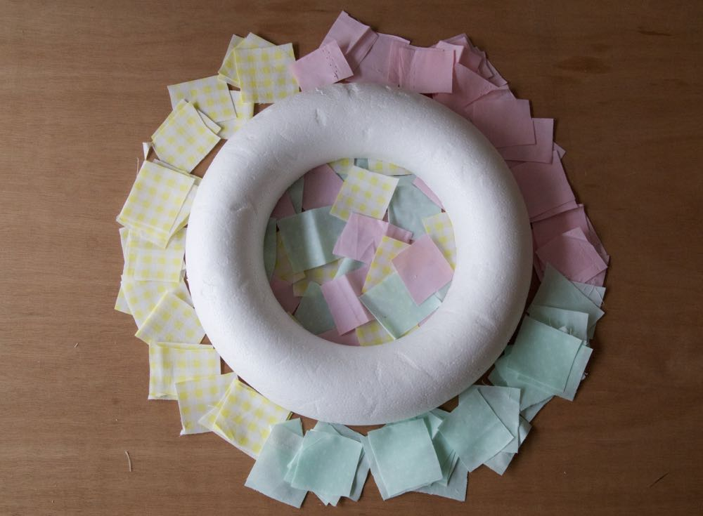 Polystyrene Wreath and Fabric scraps in pastel colours to make a simple spring wreath for Easter.