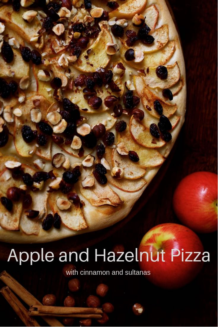 Apple Pizza with Hazelnuts, Cinnamon and Sultanas.