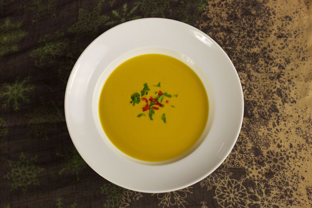 Butternut Squash and Red Lentil Soup with Coconut, Chilli and Ginger.