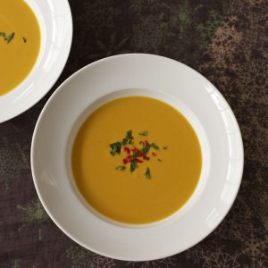 Pumpkin and Lentil Soup with Chilli and Coconut