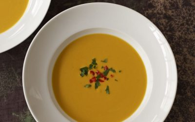 Butternut Squash and Lentil Soup with Chilli and Coconut