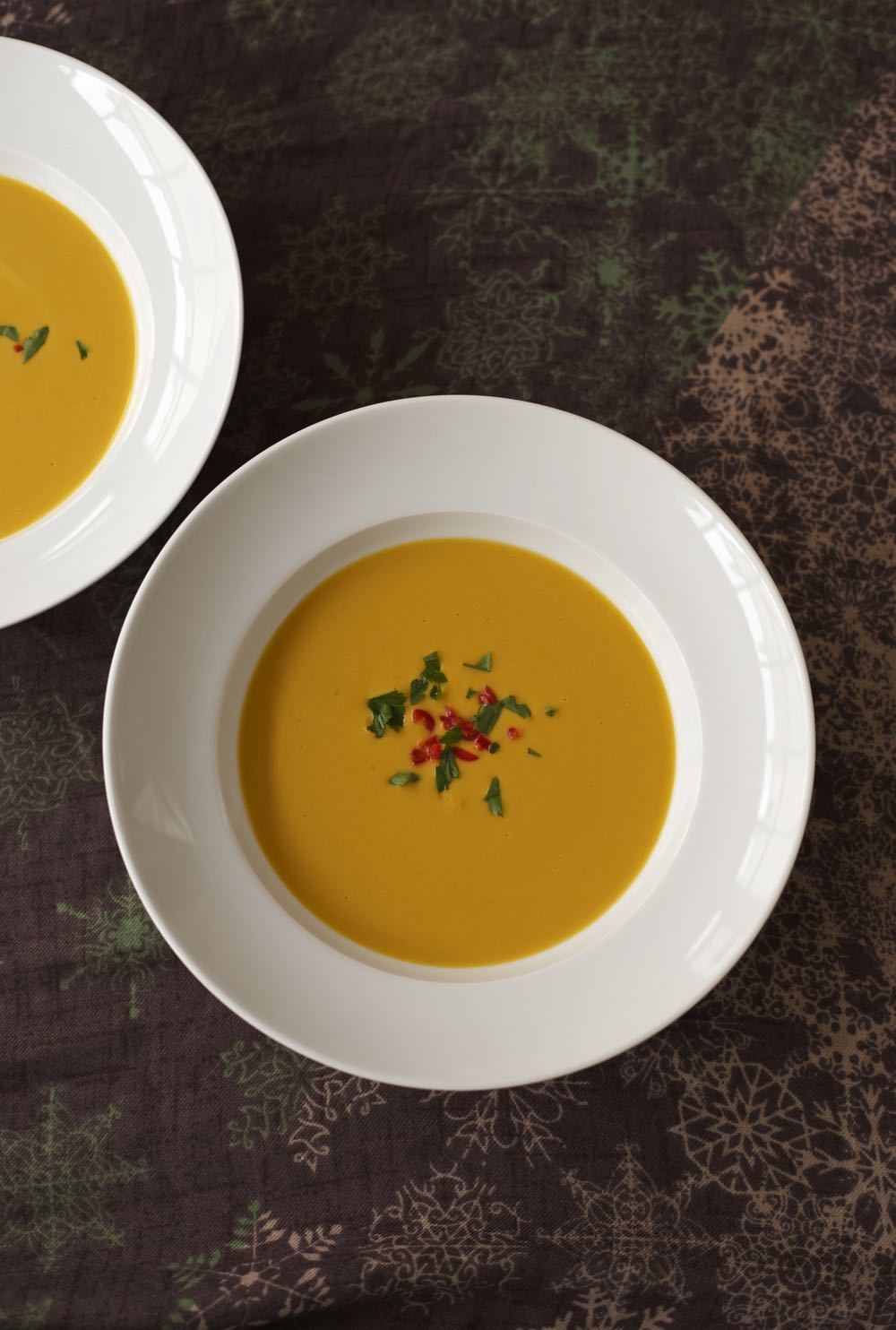 Pumpkin and Lentil Soup with Chilli and Coconut.