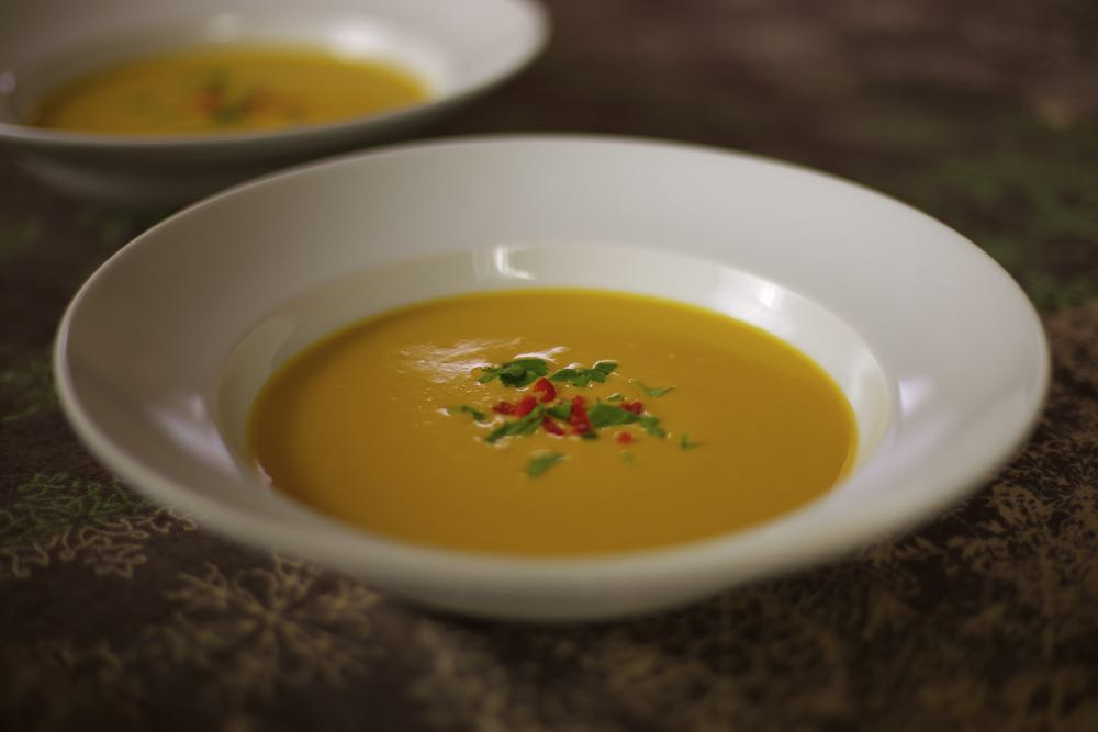Spicy Squash and Lentil Soup with Chilli and Coconut