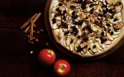 Apple and Hazelnut Pizza with Sultanas and Cinnamon