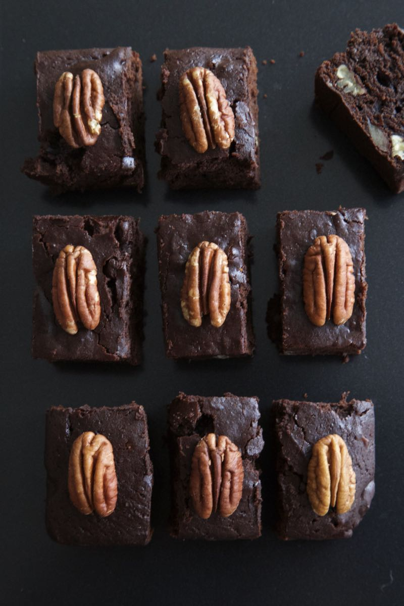 Vegan Pecan and Pumpkin Brownies.