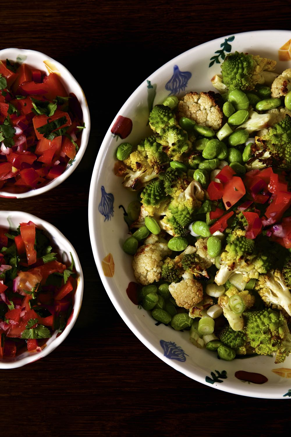 Roasted Cauliflower Salald with Edamame Beans and a Sweet Pepper Salsa